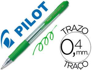 BOLIGRAFO PILOT SUPER GRIP VERDE RETRACTIL SUJECION DE CAUCHO TINTA BASE DE ACEITE.