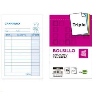 TALONARIO LIDERPAPEL CAMARERO 85X135 TRIPLE